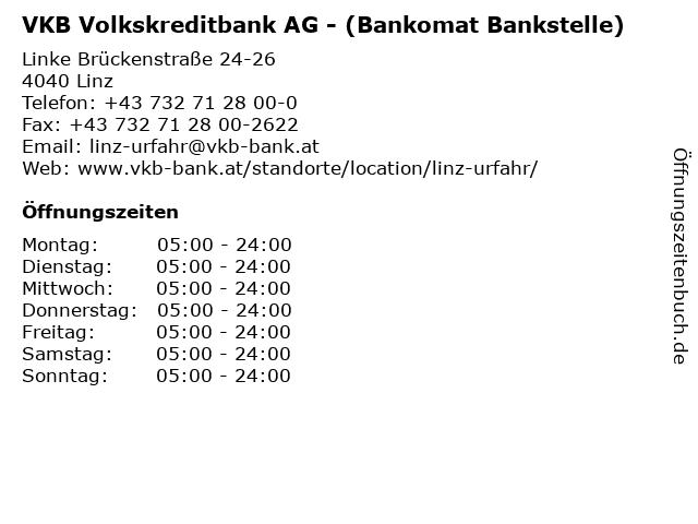 VKB Volkskreditbank AG - (Bankomat Bankstelle) in Linz: Adresse und Öffnungszeiten