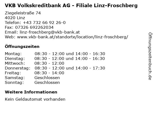 VKB Volkskreditbank AG - Filiale Linz-Froschberg in Linz: Adresse und Öffnungszeiten