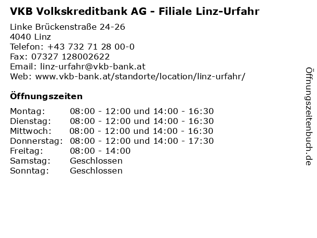 VKB Volkskreditbank AG - Filiale Linz-Urfahr in Linz: Adresse und Öffnungszeiten