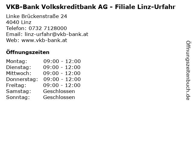 VKB-Bank Volkskreditbank AG - Filiale Linz-Urfahr in Linz: Adresse und Öffnungszeiten