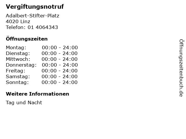 Vergiftungsnotruf in Linz: Adresse und Öffnungszeiten