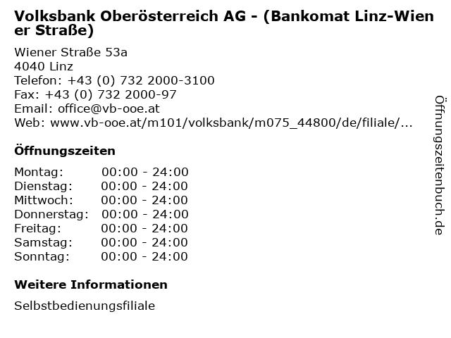 Volksbank Oberösterreich AG - (Bankomat Linz-Wiener Straße) in Linz: Adresse und Öffnungszeiten