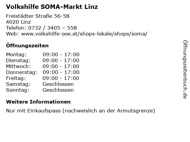 Volkshilfe SOMA-Markt Linz in Linz: Adresse und Öffnungszeiten
