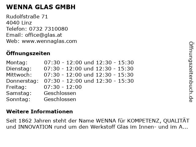 WENNA GLAS GMBH in Linz: Adresse und Öffnungszeiten