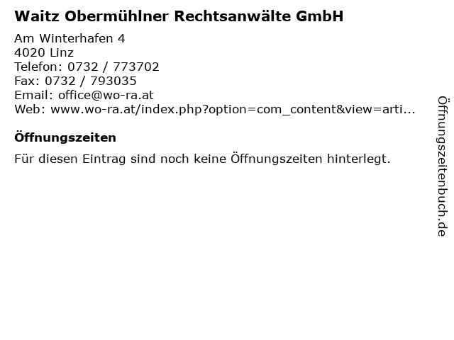 Waitz Obermühlner Rechtsanwälte GmbH in Linz: Adresse und Öffnungszeiten