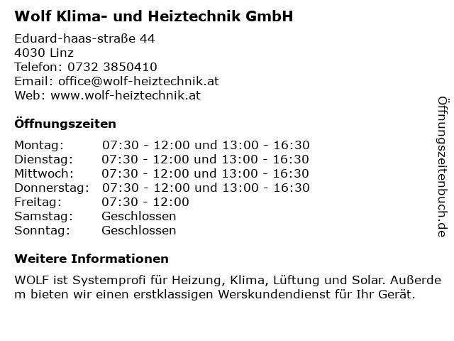 Wolf Klima- und Heiztechnik GmbH in Linz: Adresse und Öffnungszeiten