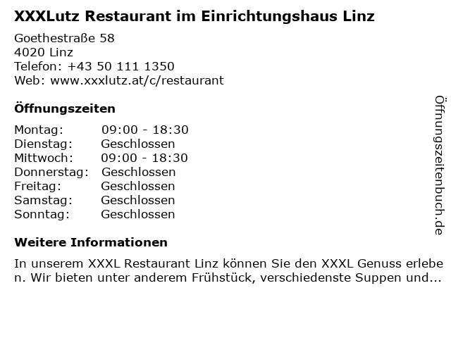 XXXLutz Restaurant im Einrichtungshaus Linz in Linz: Adresse und Öffnungszeiten
