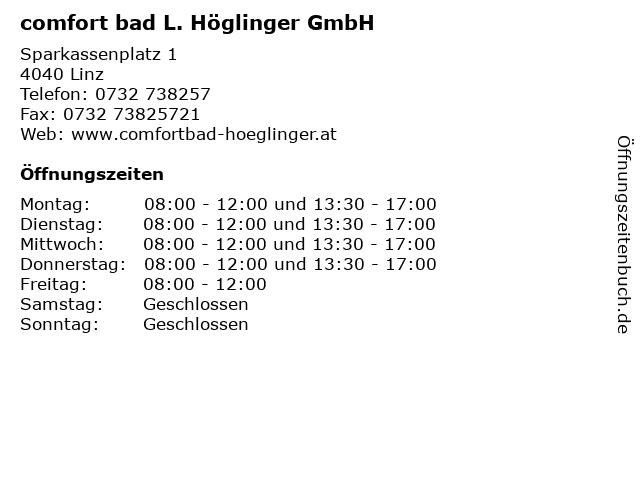 comfort bad L. Höglinger GmbH in Linz: Adresse und Öffnungszeiten