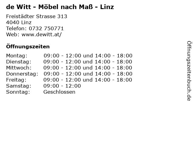 de Witt - Möbel nach Maß - Linz in Linz: Adresse und Öffnungszeiten