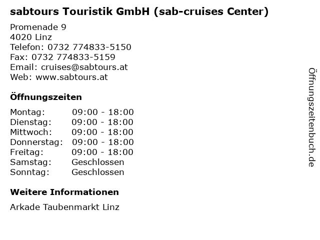 sabtours Touristik GmbH (sab-cruises Center) in Linz: Adresse und Öffnungszeiten