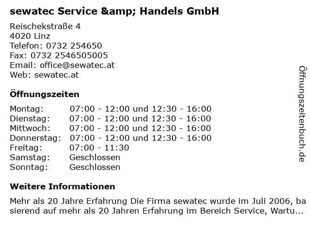 sewatec Service & Handels GmbH in Linz: Adresse und Öffnungszeiten