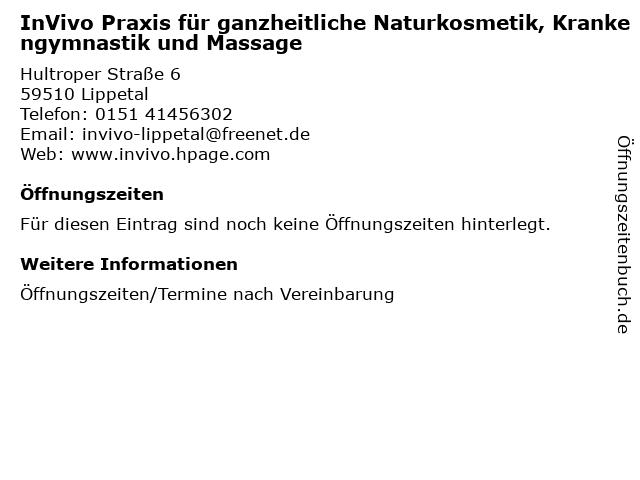 InVivo Praxis für ganzheitliche Naturkosmetik, Krankengymnastik und Massage in Lippetal: Adresse und Öffnungszeiten