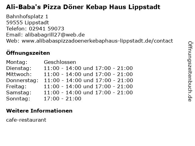Ali-Baba's Pizza Döner Kebap Haus Lippstadt in Lippstadt: Adresse und Öffnungszeiten