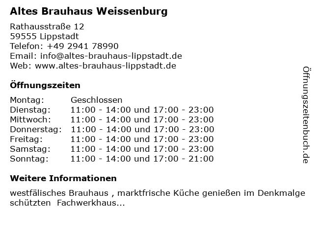 Altes Brauhaus Weissenburg in Lippstadt: Adresse und Öffnungszeiten