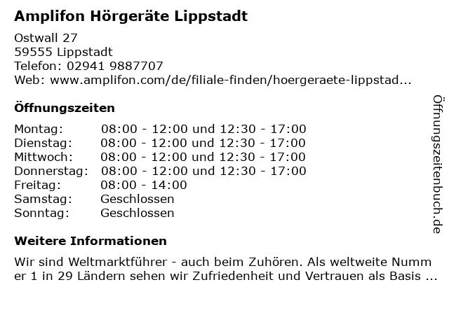 Amplifon Deutschland GmbH in Lippstadt: Adresse und Öffnungszeiten