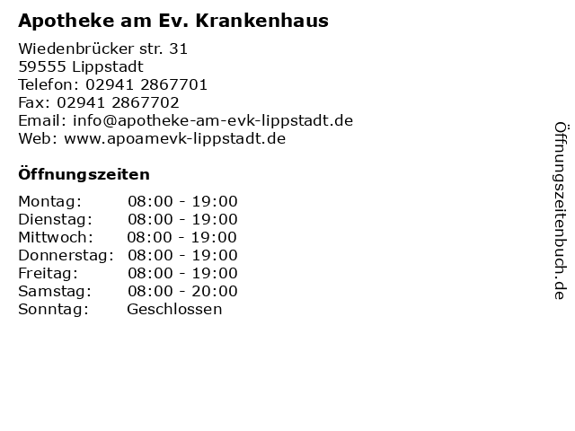 Apotheke am Evang. Krankenhaus in Lippstadt: Adresse und Öffnungszeiten