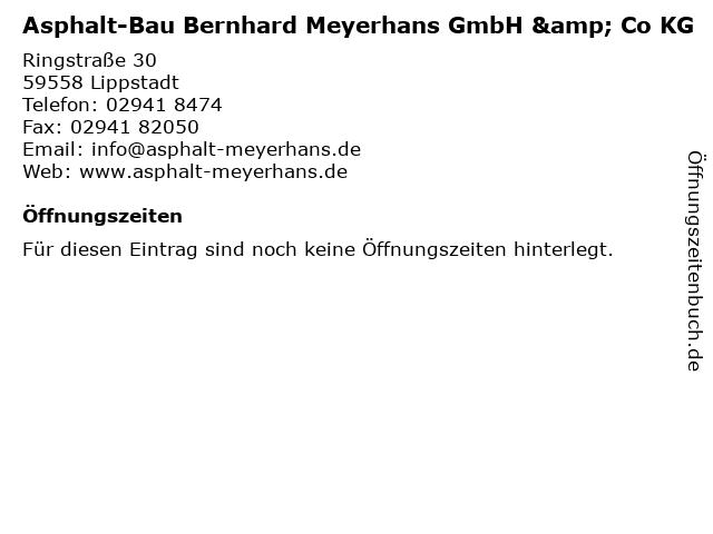 Asphalt-Bau Bernhard Meyerhans GmbH & Co KG in Lippstadt: Adresse und Öffnungszeiten