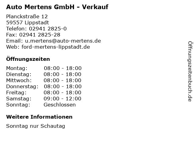 Auto Mertens GmbH - Verkauf in Lippstadt: Adresse und Öffnungszeiten