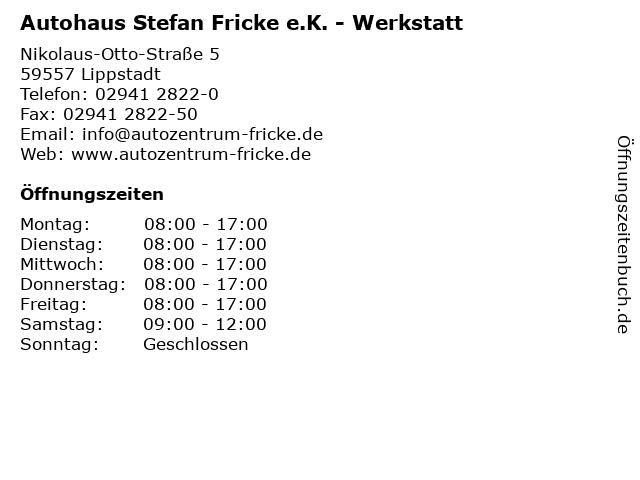 Autohaus Stefan Fricke e.K. - Werkstatt in Lippstadt: Adresse und Öffnungszeiten