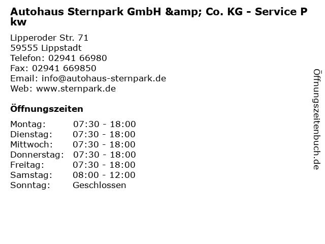 Autohaus Sternpark GmbH & Co. KG - Service Pkw in Lippstadt: Adresse und Öffnungszeiten