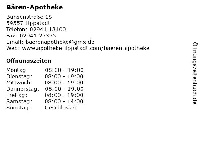 Bären-Apotheke in Lippstadt: Adresse und Öffnungszeiten