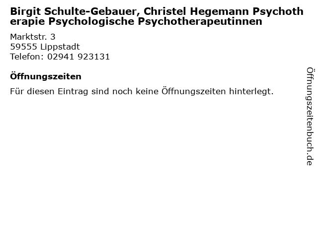 Birgit Schulte-Gebauer, Christel Hegemann Psychotherapie Psychologische Psychotherapeutinnen in Lippstadt: Adresse und Öffnungszeiten