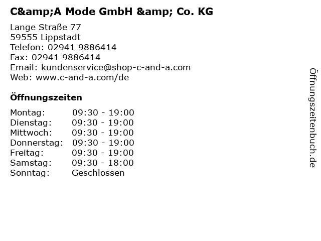 C&A Mode GmbH & Co. KG in Lippstadt: Adresse und Öffnungszeiten