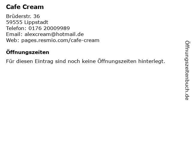 Cafe Cream in Lippstadt: Adresse und Öffnungszeiten