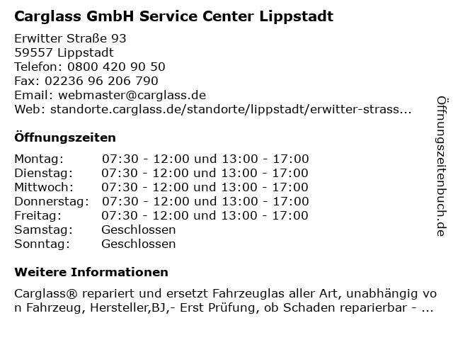 Carglass GmbH Service Center Lippstadt in Lippstadt: Adresse und Öffnungszeiten
