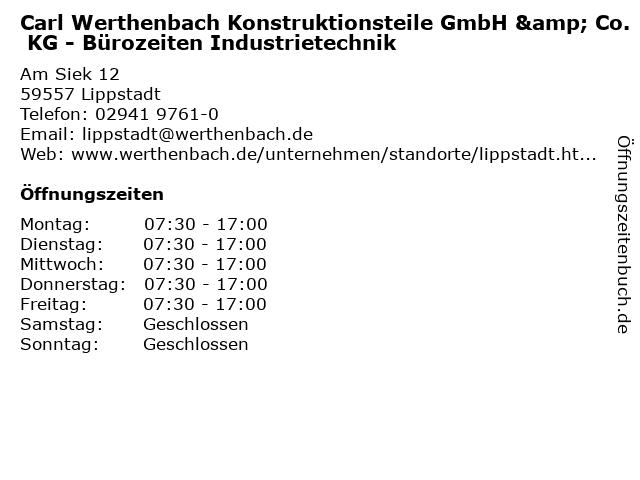 Carl Werthenbach Konstruktionsteile GmbH & Co. KG - Bürozeiten Industrietechnik in Lippstadt: Adresse und Öffnungszeiten