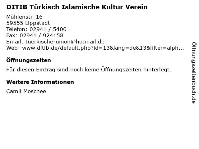 DITIB Türkisch Islamische Kultur Verein in Lippstadt: Adresse und Öffnungszeiten