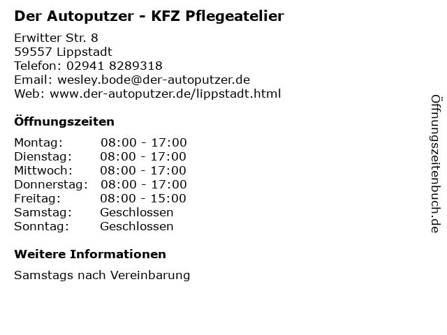 Der Autoputzer - KFZ Pflegeatelier in Lippstadt: Adresse und Öffnungszeiten