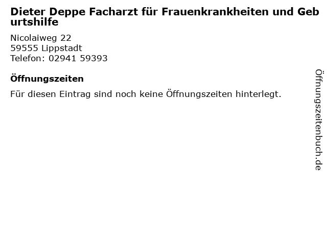 Dieter Deppe Facharzt für Frauenkrankheiten und Geburtshilfe in Lippstadt: Adresse und Öffnungszeiten