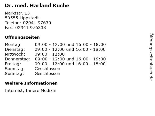 ᐅ Offnungszeiten Dr Med Harland Kuche Marktstr 13 In Lippstadt