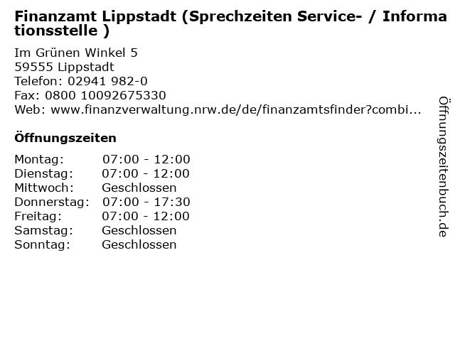 Finanzamt Lippstadt (Sprechzeiten Service- / Informationsstelle ) in Lippstadt: Adresse und Öffnungszeiten