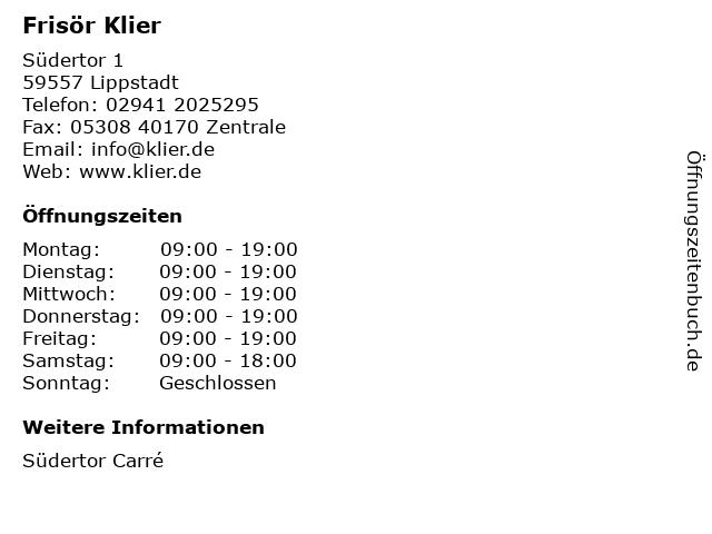 Frisör Klier GmbH in Lippstadt: Adresse und Öffnungszeiten
