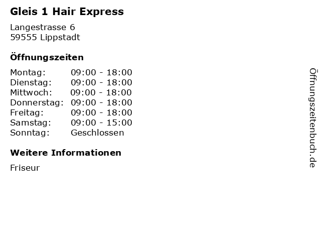 Gleis 1 Hair Express in Lippstadt: Adresse und Öffnungszeiten