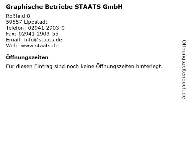 Graphische Betriebe STAATS GmbH in Lippstadt: Adresse und Öffnungszeiten