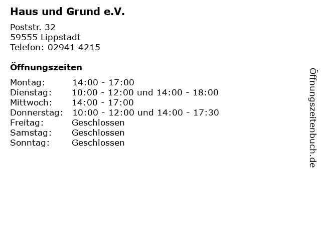 Haus und Grund e.V. in Lippstadt: Adresse und Öffnungszeiten