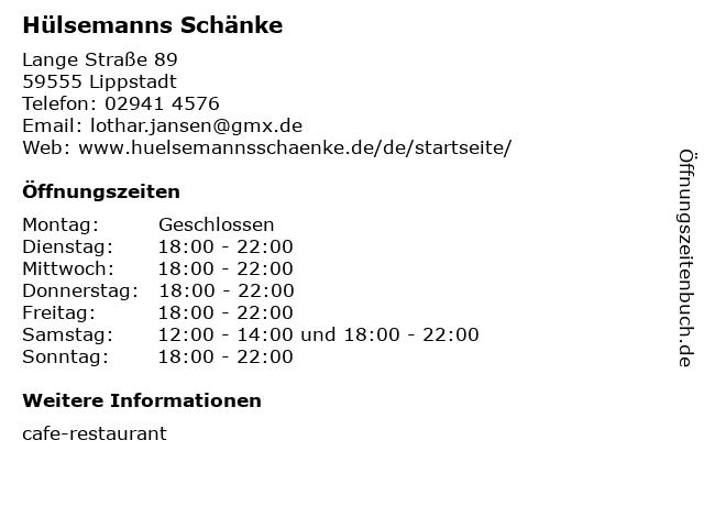 Hülsemanns Schänke in Lippstadt: Adresse und Öffnungszeiten