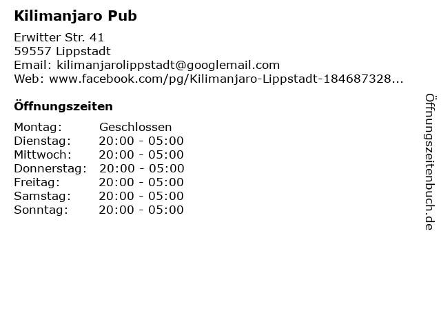 Kilimanjaro Pub in Lippstadt: Adresse und Öffnungszeiten