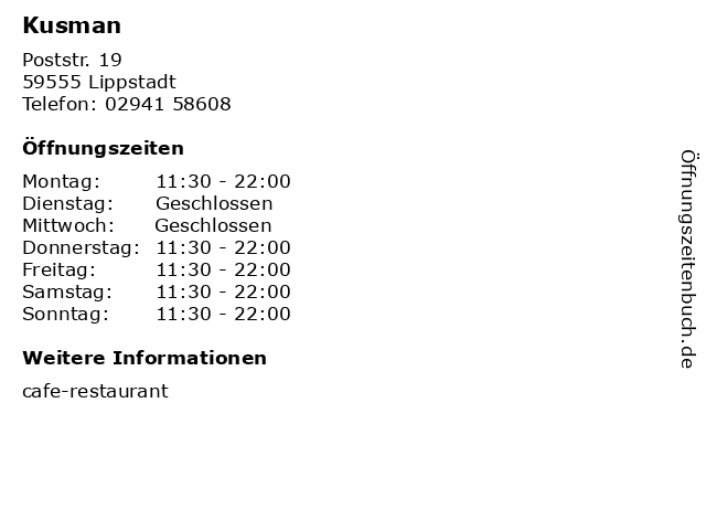 Kusman in Lippstadt: Adresse und Öffnungszeiten