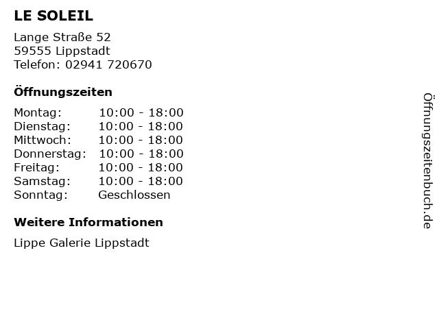 LE SOLEIL in Lippstadt: Adresse und Öffnungszeiten