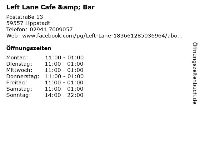 Left Lane Cafe & Bar in Lippstadt: Adresse und Öffnungszeiten