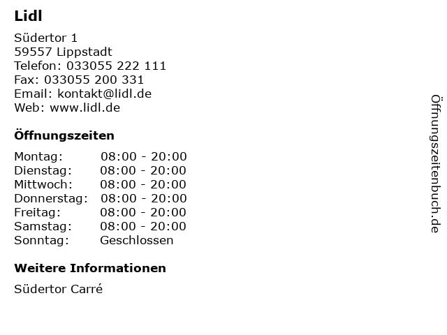 Lidl Dienstleistung GmbH & Co. KG in Lippstadt: Adresse und Öffnungszeiten