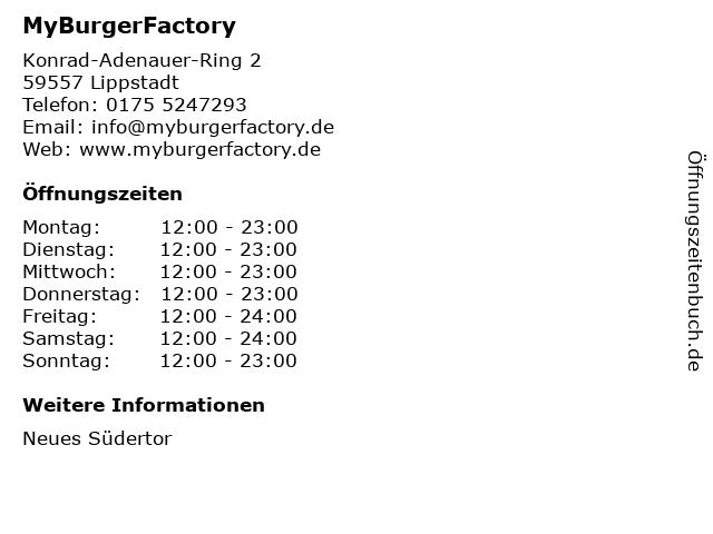 MyBurgerFactory in Lippstadt: Adresse und Öffnungszeiten