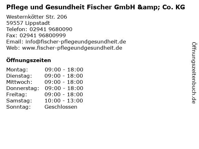 Pflege und Gesundheit Fischer GmbH & Co. KG in Lippstadt: Adresse und Öffnungszeiten