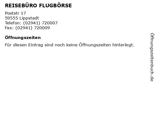 REISEBÜRO FLUGBÖRSE in Lippstadt: Adresse und Öffnungszeiten