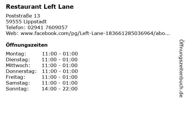 Restaurant Left Lane in Lippstadt: Adresse und Öffnungszeiten