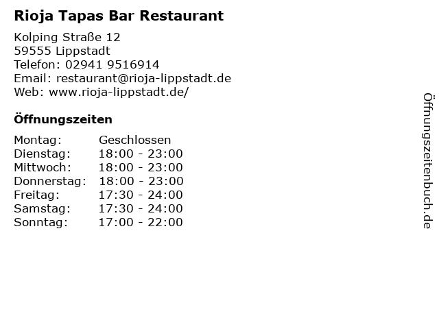 Rioja Tapas Bar Restaurant in Lippstadt: Adresse und Öffnungszeiten